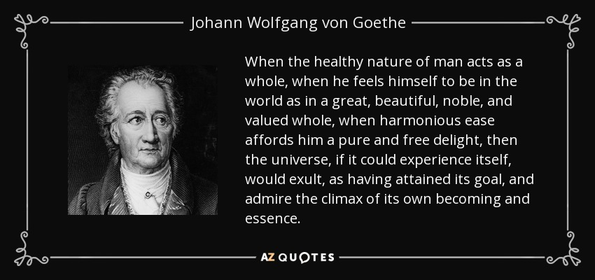 When the healthy nature of man acts as a whole, when he feels himself to be in the world as in a great, beautiful, noble, and valued whole, when harmonious ease affords him a pure and free delight, then the universe, if it could experience itself, would exult, as having attained its goal, and admire the climax of its own becoming and essence. - Johann Wolfgang von Goethe