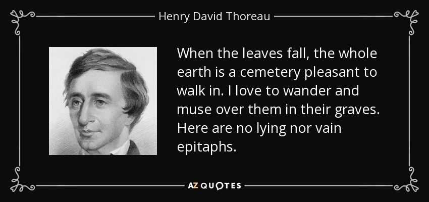 When the leaves fall, the whole earth is a cemetery pleasant to walk in. I love to wander and muse over them in their graves. Here are no lying nor vain epitaphs. - Henry David Thoreau