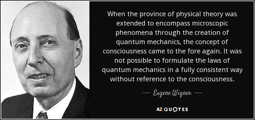 When the province of physical theory was extended to encompass microscopic phenomena through the creation of quantum mechanics, the concept of consciousness came to the fore again. It was not possible to formulate the laws of quantum mechanics in a fully consistent way without reference to the consciousness. - Eugene Wigner