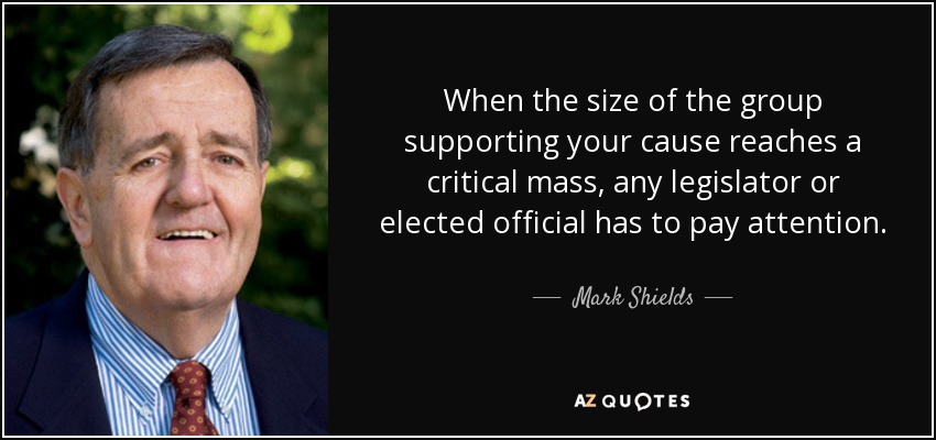 When the size of the group supporting your cause reaches a critical mass, any legislator or elected official has to pay attention. - Mark Shields