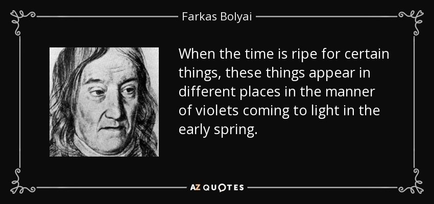 When the time is ripe for certain things, these things appear in different places in the manner of violets coming to light in the early spring. - Farkas Bolyai