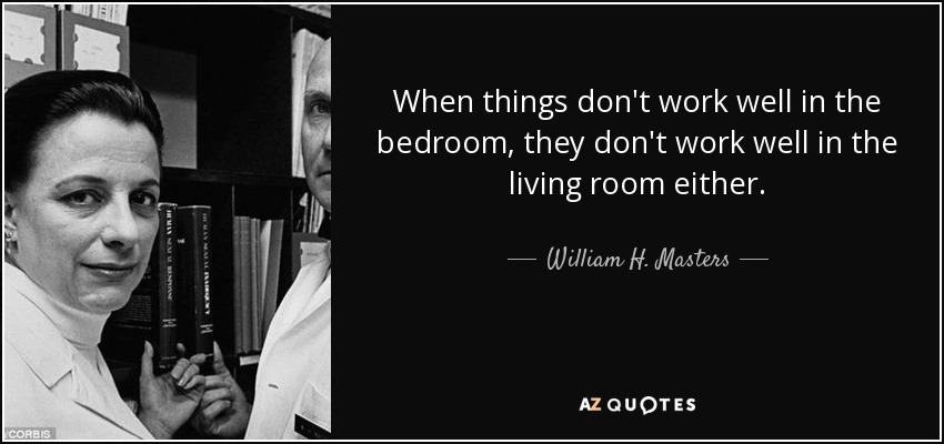When things don't work well in the bedroom, they don't work well in the living room either. - William H. Masters