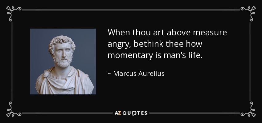 When thou art above measure angry, bethink thee how momentary is man's life. - Marcus Aurelius
