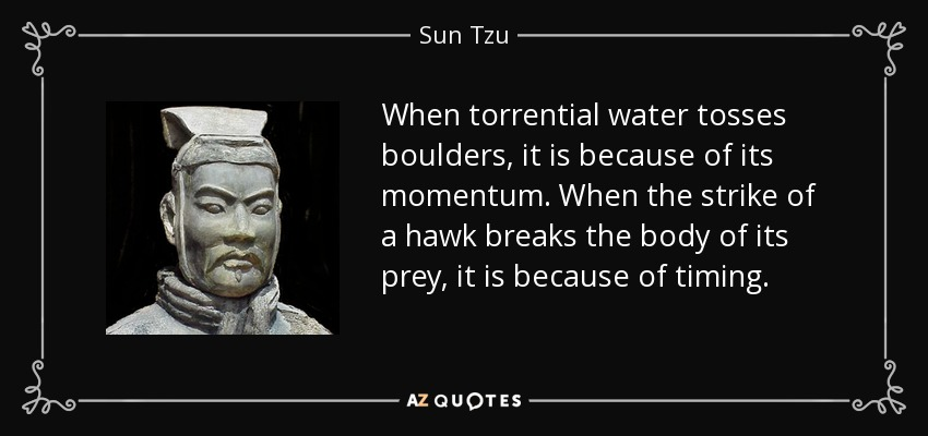 When torrential water tosses boulders, it is because of its momentum. When the strike of a hawk breaks the body of its prey, it is because of timing. - Sun Tzu
