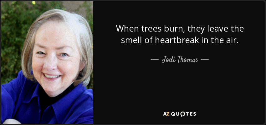 When trees burn, they leave the smell of heartbreak in the air. - Jodi Thomas