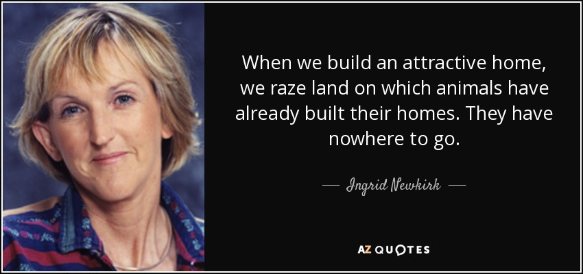 When we build an attractive home, we raze land on which animals have already built their homes. They have nowhere to go. - Ingrid Newkirk