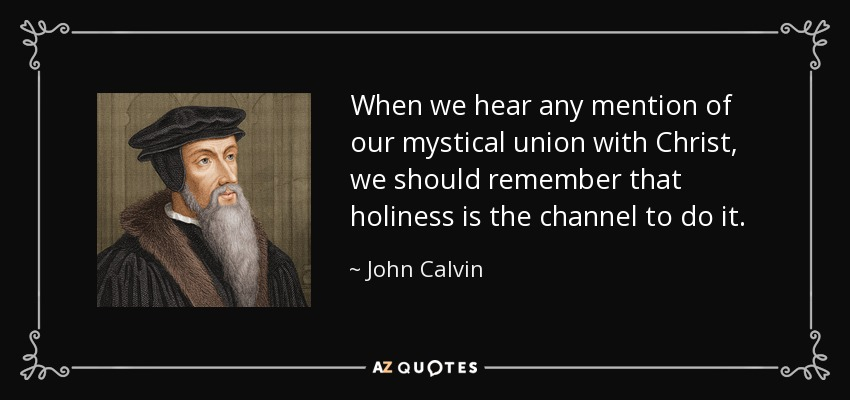 When we hear any mention of our mystical union with Christ, we should remember that holiness is the channel to do it. - John Calvin