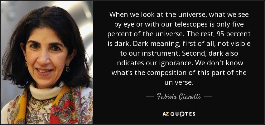 When we look at the universe, what we see by eye or with our telescopes is only five percent of the universe. The rest, 95 percent is dark. Dark meaning, first of all, not visible to our instrument. Second, dark also indicates our ignorance. We don't know what's the composition of this part of the universe. - Fabiola Gianotti