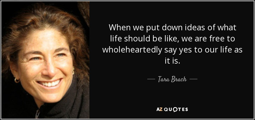 When we put down ideas of what life should be like, we are free to wholeheartedly say yes to our life as it is. - Tara Brach