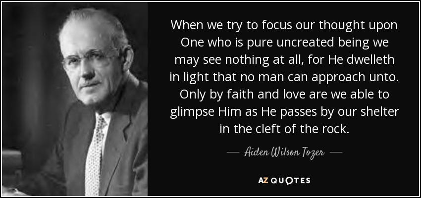 When we try to focus our thought upon One who is pure uncreated being we may see nothing at all, for He dwelleth in light that no man can approach unto. Only by faith and love are we able to glimpse Him as He passes by our shelter in the cleft of the rock. - Aiden Wilson Tozer