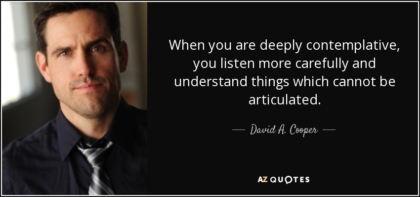 David A. Cooper quote: When you are deeply contemplative, you ...