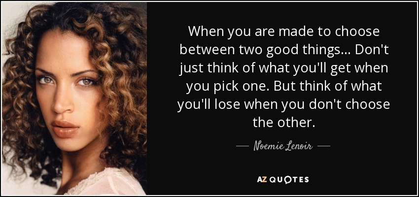 When you are made to choose between two good things... Don't just think of what you'll get when you pick one. But think of what you'll lose when you don't choose the other. - Noemie Lenoir