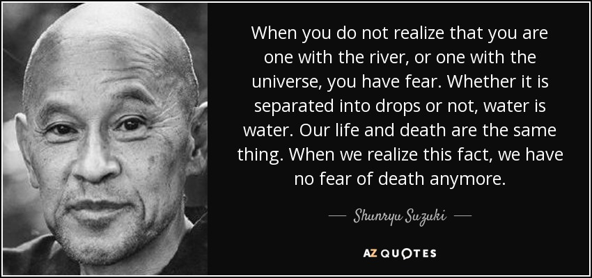 When you do not realize that you are one with the river, or one with the universe, you have fear. Whether it is separated into drops or not, water is water. Our life and death are the same thing. When we realize this fact, we have no fear of death anymore. - Shunryu Suzuki