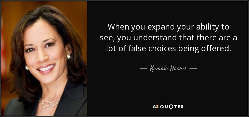 When you expand your ability to see, you understand that there are a lot of false choices being offered. - Kamala Harris