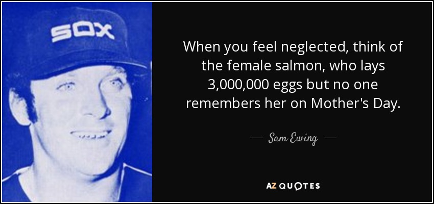 When you feel neglected, think of the female salmon, who lays 3,000,000 eggs but no one remembers her on Mother's Day. - Sam Ewing
