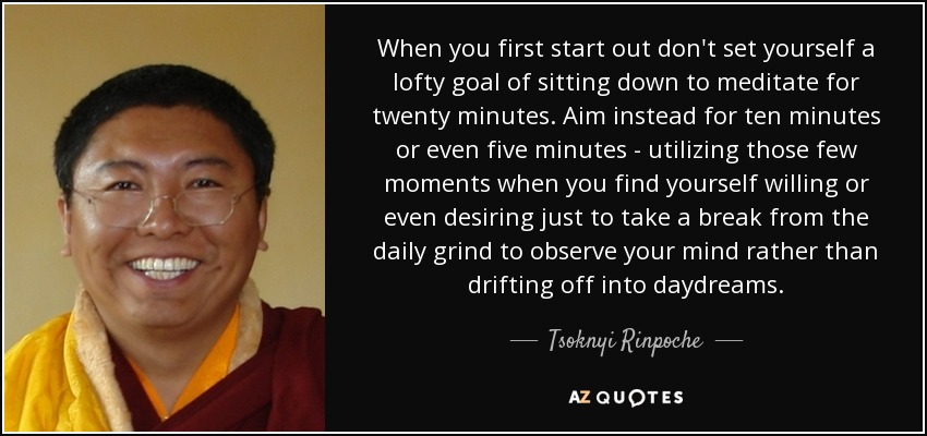 When you first start out don't set yourself a lofty goal of sitting down to meditate for twenty minutes. Aim instead for ten minutes or even five minutes - utilizing those few moments when you find yourself willing or even desiring just to take a break from the daily grind to observe your mind rather than drifting off into daydreams. - Tsoknyi Rinpoche