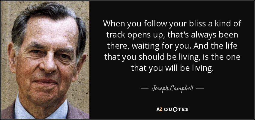 When you follow your bliss a kind of track opens up, that's always been there, waiting for you. And the life that you should be living, is the one that you will be living. - Joseph Campbell
