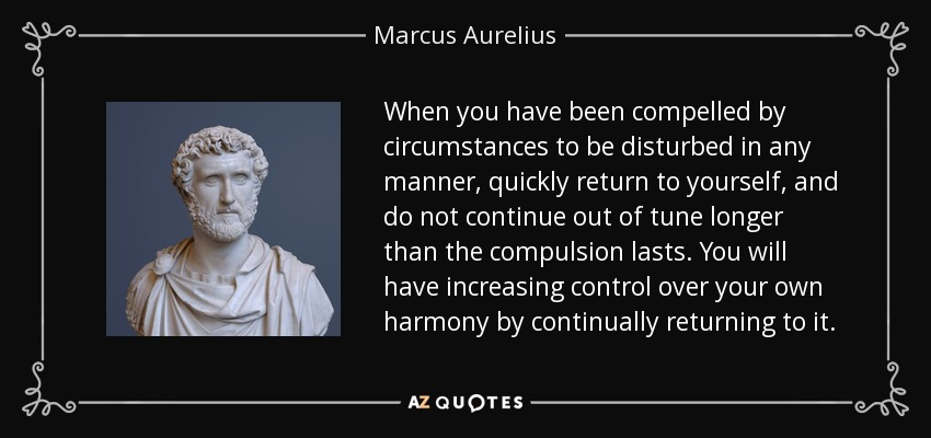When you have been compelled by circumstances to be disturbed in any manner, quickly return to yourself, and do not continue out of tune longer than the compulsion lasts. You will have increasing control over your own harmony by continually returning to it. - Marcus Aurelius