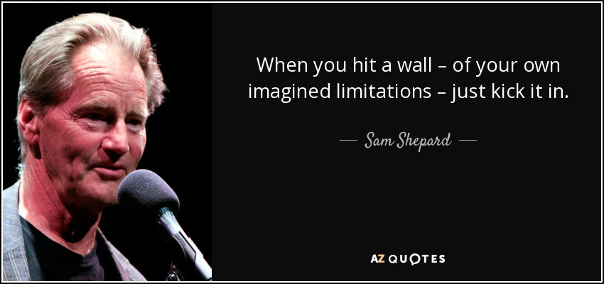 When you hit a wall – of your own imagined limitations – just kick it in. - Sam Shepard