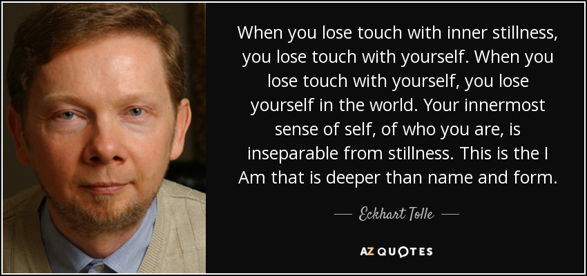 When you lose touch with inner stillness, you lose touch with yourself. When you lose touch with yourself, you lose yourself in the world. Your innermost sense of self, of who you are, is inseparable from stillness. This is the I Am that is deeper than name and form. - Eckhart Tolle
