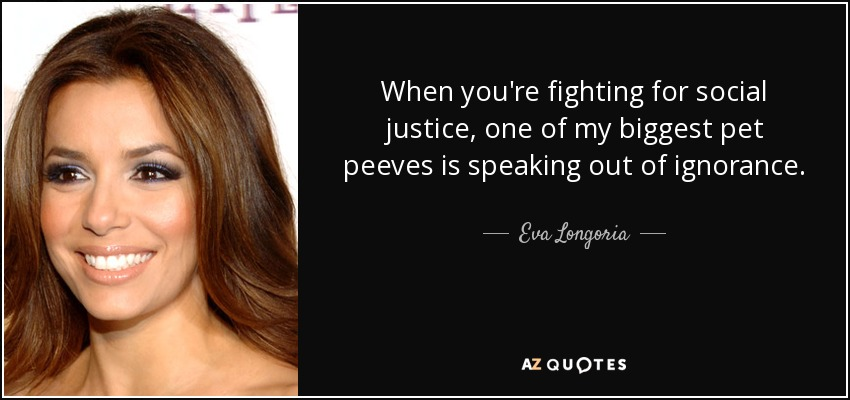When you're fighting for social justice, one of my biggest pet peeves is speaking out of ignorance. - Eva Longoria