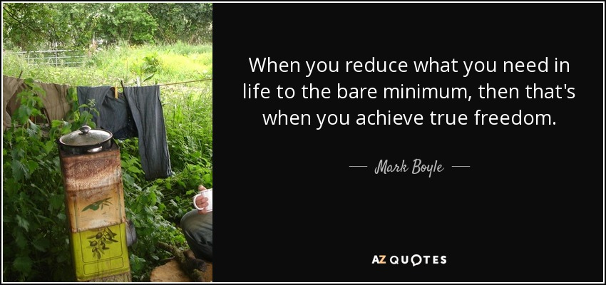 When you reduce what you need in life to the bare minimum, then that's when you achieve true freedom. - Mark Boyle