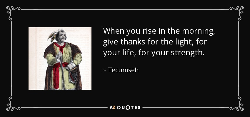 When you rise in the morning, give thanks for the light, for your life, for your strength. - Tecumseh