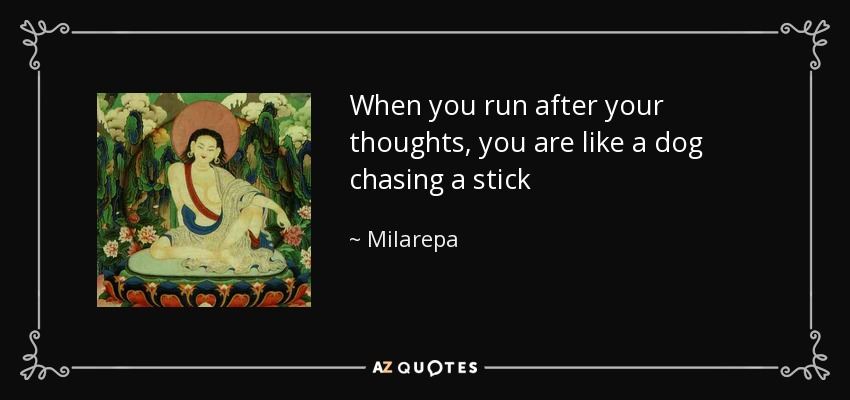 When you run after your thoughts, you are like a dog chasing a stick - Milarepa