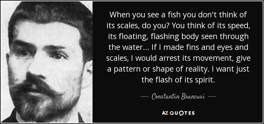 When you see a fish you don't think of its scales, do you? You think of its speed, its floating, flashing body seen through the water... If I made fins and eyes and scales, I would arrest its movement, give a pattern or shape of reality. I want just the flash of its spirit. - Constantin Brancusi