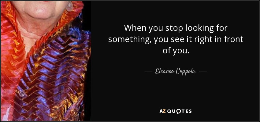 Eleanor Coppola Quote When You Stop Looking For Something You See