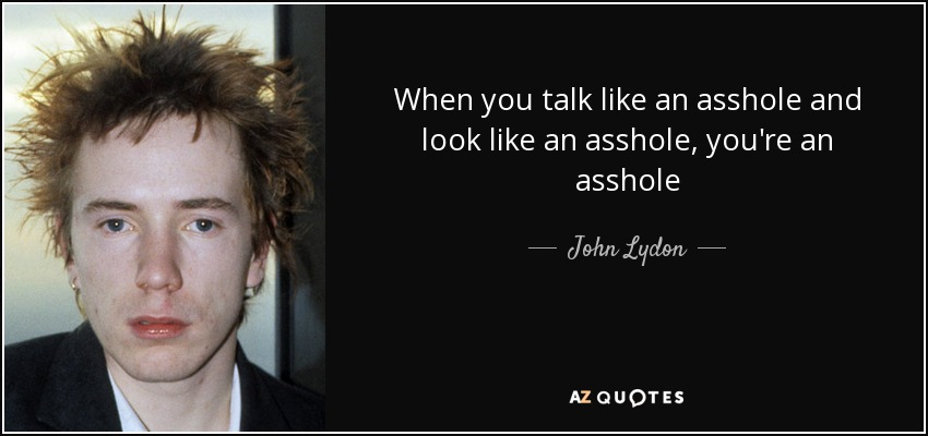 When you talk like an asshole and look like an asshole, you're an asshole - John Lydon