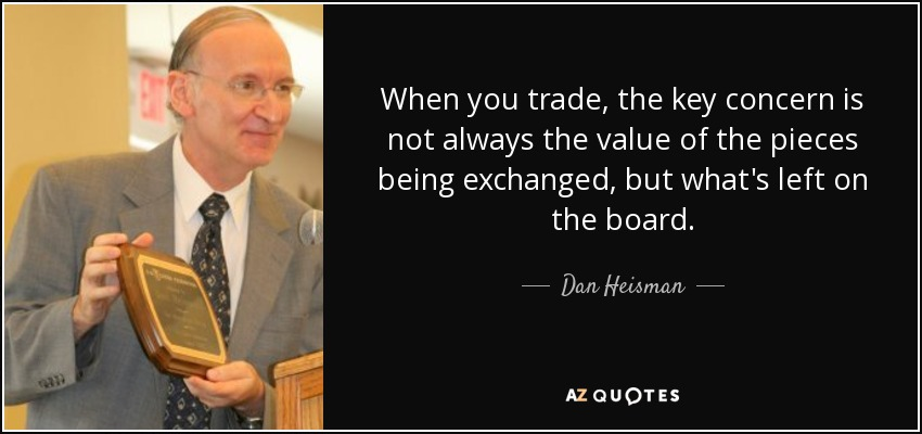 When you trade, the key concern is not always the value of the pieces being exchanged, but what's left on the board. - Dan Heisman