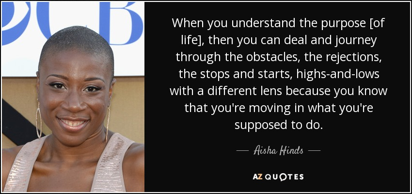 When you understand the purpose [of life], then you can deal and journey through the obstacles, the rejections, the stops and starts, highs-and-lows with a different lens because you know that you're moving in what you're supposed to do. - Aisha Hinds