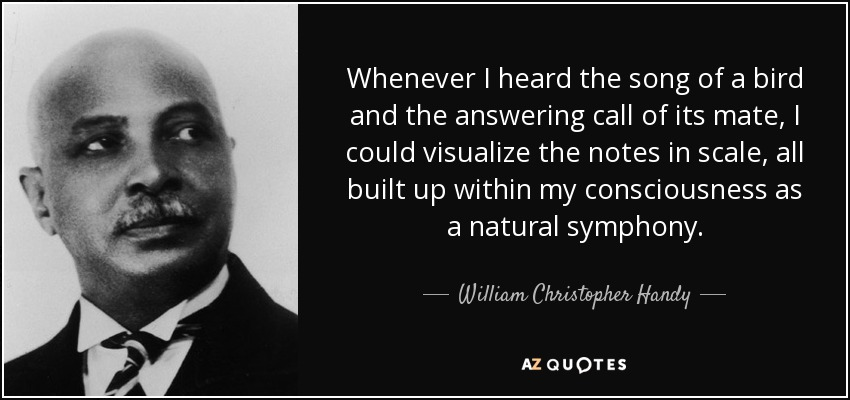 Whenever I heard the song of a bird and the answering call of its mate, I could visualize the notes in scale, all built up within my consciousness as a natural symphony. - William Christopher Handy