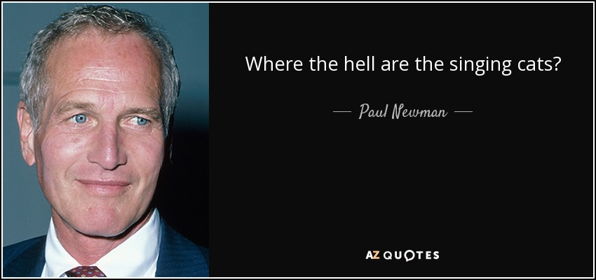 Where the hell are the singing cats? - Paul Newman
