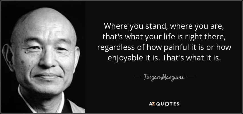 Where you stand, where you are, that's what your life is right there, regardless of how painful it is or how enjoyable it is. That's what it is. - Taizan Maezumi