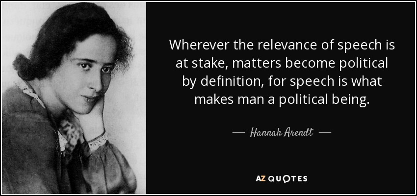 Wherever the relevance of speech is at stake, matters become political by definition, for speech is what makes man a political being. - Hannah Arendt