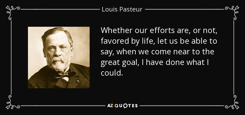Whether our efforts are, or not, favored by life, let us be able to say, when we come near to the great goal, I have done what I could. - Louis Pasteur