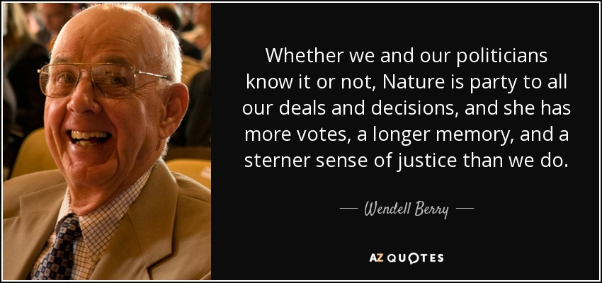 Whether we and our politicians know it or not, Nature is party to all our deals and decisions, and she has more votes, a longer memory, and a sterner sense of justice than we do. - Wendell Berry