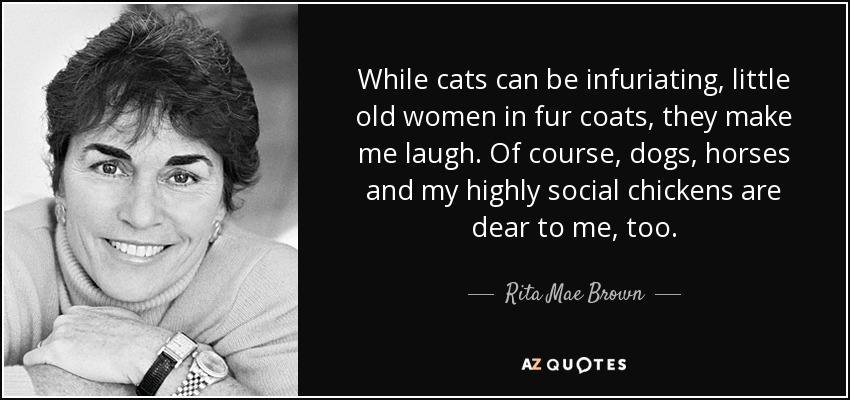 While cats can be infuriating, little old women in fur coats, they make me laugh. Of course, dogs, horses and my highly social chickens are dear to me, too. - Rita Mae Brown