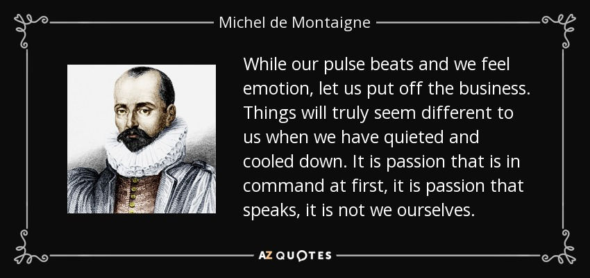 While our pulse beats and we feel emotion, let us put off the business. Things will truly seem different to us when we have quieted and cooled down. It is passion that is in command at first, it is passion that speaks, it is not we ourselves. - Michel de Montaigne