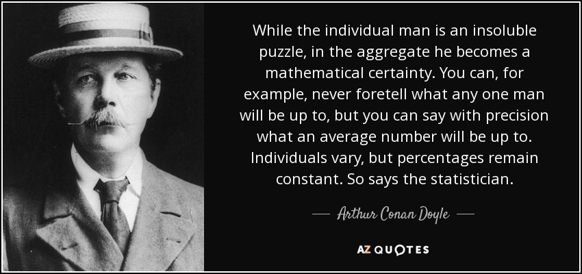 While the individual man is an insoluble puzzle, in the aggregate he becomes a mathematical certainty. You can, for example, never foretell what any one man will be up to, but you can say with precision what an average number will be up to. Individuals vary, but percentages remain constant. So says the statistician. - Arthur Conan Doyle