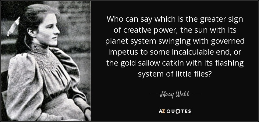 Who can say which is the greater sign of creative power, the sun with its planet system swinging with governed impetus to some incalculable end, or the gold sallow catkin with its flashing system of little flies? - Mary Webb