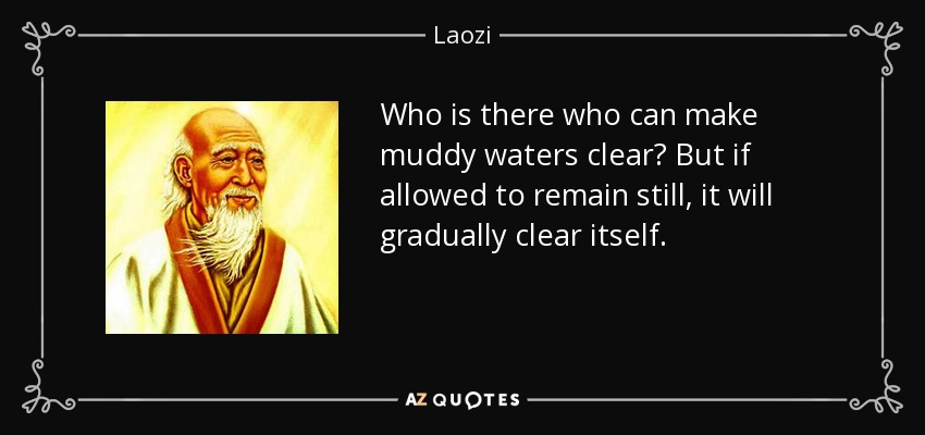 Who is there who can make muddy waters clear? But if allowed to remain still, it will gradually clear itself. - Laozi