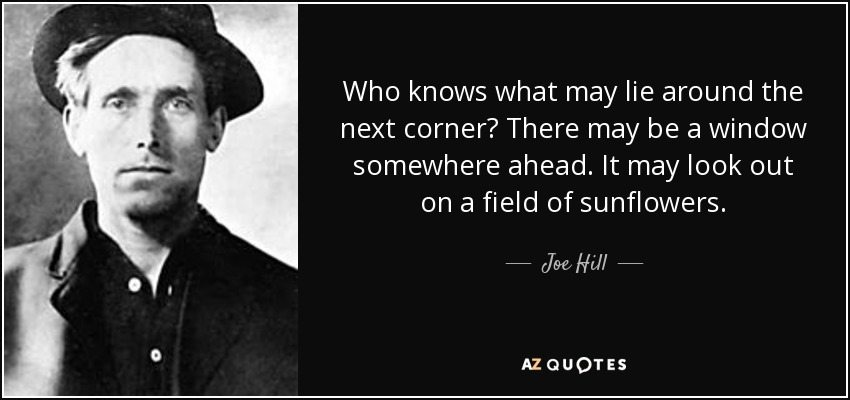 Who knows what may lie around the next corner? There may be a window somewhere ahead. It may look out on a field of sunflowers. - Joe Hill