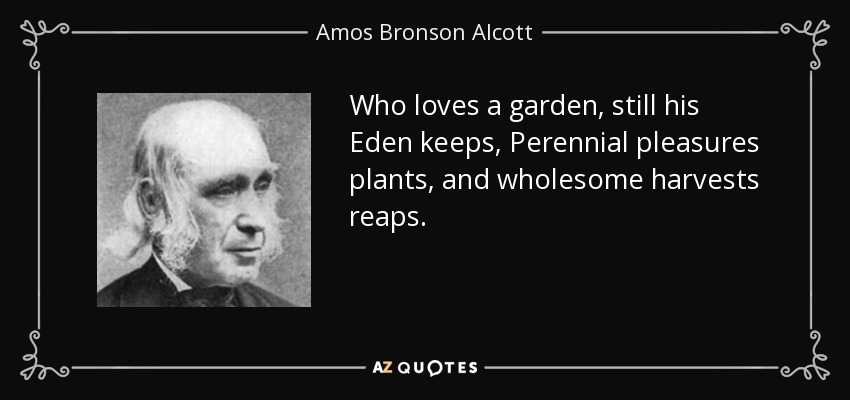 Who loves a garden, still his Eden keeps, Perennial pleasures plants, and wholesome harvests reaps. - Amos Bronson Alcott