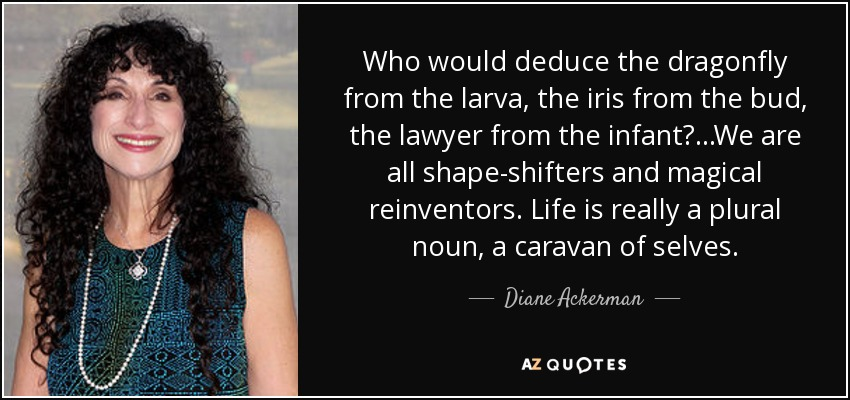 Who would deduce the dragonfly from the larva, the iris from the bud, the lawyer from the infant? ...We are all shape-shifters and magical reinventors. Life is really a plural noun, a caravan of selves. - Diane Ackerman