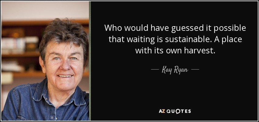 Who would have guessed it possible that waiting is sustainable. A place with its own harvest. - Kay Ryan