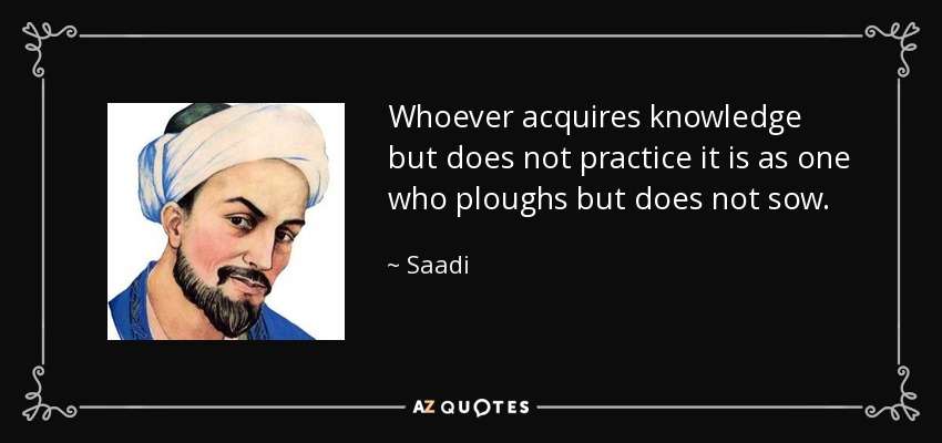 Whoever acquires knowledge but does not practice it is as one who ploughs but does not sow. - Saadi