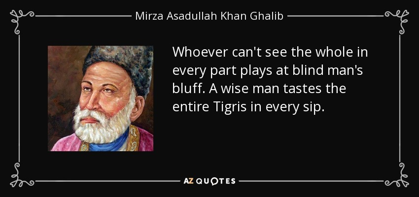 Whoever can't see the whole in every part plays at blind man's bluff. A wise man tastes the entire Tigris in every sip. - Mirza Asadullah Khan Ghalib